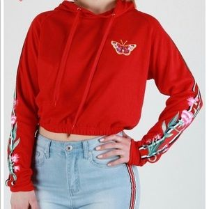 Red Cropped Long Sleeve Hoodie Hooded Sweatshirt
